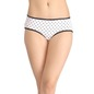 Cotton Mid-Waist Printed Hipster with Contrast Lace Trim - White