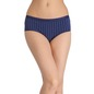 Cotton Mid-Waist Striped Hipster - Blue