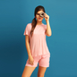 Cotton Night shirt & Shorts With Polka Dot Print - Pink