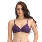 Cotton Non-Padded Demi Cup Bra - Purple