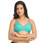Cotton Non-Padded Wirefree Demi Cup Bra - Green