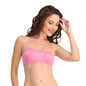 Cotton Non-Padded Wirefree Tube Bra With Detachable Transparent Straps - Pink