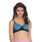 Cotton Polka Print Demi Cup Push Up Wirefree Bra With Powernet Band - Blue