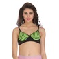 Cotton Polka Print Demi Cup Push Up Wirefree Bra With Powernet Band - Green