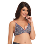 Cotton Printed Demi Cup Wirefree Bra - Blue