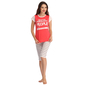 Cotton Red Printed Top With Striped Capri