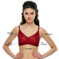 Cotton Rich Non-padded Bra With Lace In Wine Color