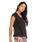 Cotton Round Neck T-shirt With Contrast Piping - Black
