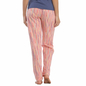 Cotton Striped Full Length Pyjama In Peach