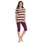 Cotton Striped Top With Purple Capri
