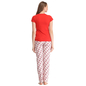 Cotton T-shirt Pyjama Set In Red & Orange