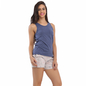Cotton Tank Top & Printed Shorts In Navy