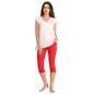 Cotton V-Neck Top & Red Capri