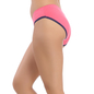 Dark Pink Cotton Spandex Bikini With Contrast Lace At Leg Opening
