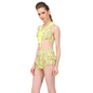 2 Pc Polyamide Printed Padded Swimsuit In Fluorescent Green