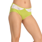 Green Cotton Spandex Hipster With Contrast Lace At Front Waist