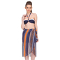 3 Pc Set Of Polyamide & Powernet Halter Padded top with Skirted Bottom and a Sarong in Navy