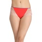 High Waist Hipster With Side Lace Wings - Red