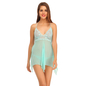Lace And Powernet Babydoll With Matching Thong - Green
