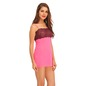 Lace & Powernet Babydoll With Matching Thong & Raw Edges - Pink