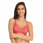 Lace Non-Padded Wirefree Full Cup Bridal Bra - Coral