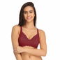 Lace Non-Padded Wirefree Full Cup Bridal Bra - Maroon