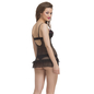 Lace & Powernet Babydoll In Black