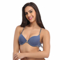 Light Blue Front Open Push Up Bra With Detachable Straps & Racer Back