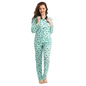 Cotton Printed Nightsuit With Solid Collar - Green
