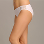 Mid Waist Bikini With Tone On Tone Lace Side Wings - White