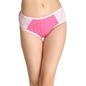 Mid-Waist Hipster With Contrast Trimmed Elastic & Lacy Side Wings - Pink