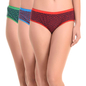 Set of 3 Multi-coloured Cotton High Waist Hipsters