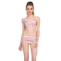 4 Pc Polyamide Striped Swim Set of Tankini in Multicolour
