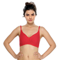 Cotton Non-Padded Wirefree Demi Cup T-shirt Bra - Red