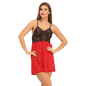 Lace & Powernet Babydoll With Cross Back Design - Red
