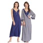 Cotton Printed Long Nightie & Robe Set - Blue