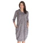 Cosy Animal Print Hooded Dress with Side Pockets - Grey