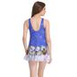 Polyamide Padded Monokini Dark Blue Swimsuit with Contrast Hem