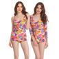 2 Pc Polyamide & Powernet Padded Swimsuit with Orange Tankini and Shrug