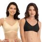 Pack Of 2 Cotton Non-Padded Wirefree Full Cup Bra - Multicolor
