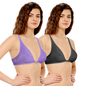 Pack Of 2 Cotton Plunge Neck Front Open Bra - Multicolor