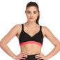 Cotton Padded Sports Bra In Black With Flourescent Orange Broad Elastic