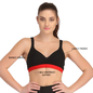 Cotton Padded Sports Bra In Black With Red Broad Elastic