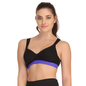 Cotton Padded Sports Bra In Black With Royal Blue Broad Elastic