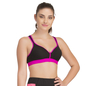 Padded Sports Bra In Black With Pink Trims & Broad Elastic
