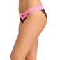 Pink Cotton Spandex Bikini With Contrast Lace At Waist