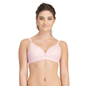 Cotton Spandex Padded Light Pink Nursing Bra With Removable Flaps
