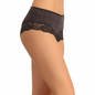 Cotton High Waisted Hipster With Broad Lace - Black
