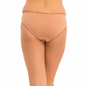 Cotton Mid Waist Bikini With Lace Trim - Brown