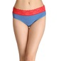 Cotton Mid-Waist Bikini with Contrast Lace Waist - Blue